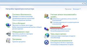 Панель управления Windows 7, способ просмотра - Категории