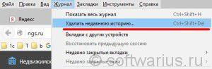 Журнал - Удалить недавнюю историю... (Firefox)