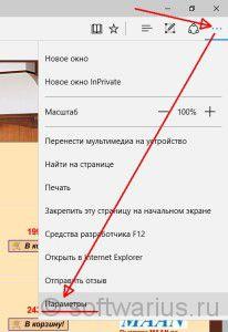 Заходим в Параметры Microsoft Edge