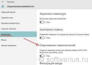 Специальные возможности Windows 10 - Клавиатура - Озвучивание переключений отключено