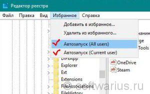 Пункты меню Избранное в Редакторе реестра