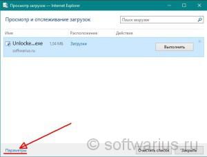 Просмотр загрузок - Internet Explorer (заходим в параметры)
